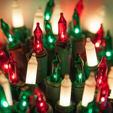 50 Frost/Red/Green Mini Light String with Lamp Lock and Wire