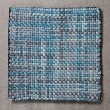 Handgewebter Wohnteppich Wooldots in Blau