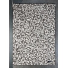 Handgewebter Wohnteppich Flat Pebble in Grau