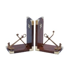 """Anchor 6"""" Antique Brass Bookends (Set of 2)"""