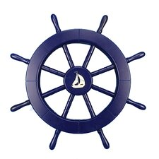 "18"" Dark Blue Decorative Ship Wheel with Sailboat Wall Décor"