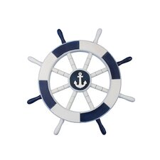 "Ship 18"" White Decorative Ship Wheel with Anchor Wall Décor"