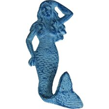 "6"" Rustic Light Blue Whitewashed Cast Iron Mermaid Wall Hook"