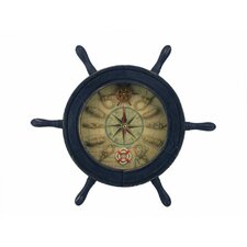 "12"" Ship Wheel Knot Faced Clock"