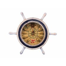 """12"""" Ship Wheel with Knot Faced Clock"""