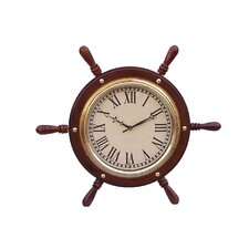 """Ship 15"""" Solid Wood and Brass Ship Wheel Clock"""