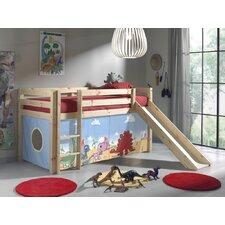 Spielbett Pino mit Rutsche und Textilvorhang, 90 x 200 cm