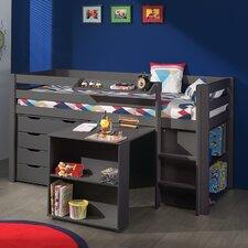 Spielbett Pino mit Schreibtisch, Regal und Schubladenkommde, 90 x 200 cm