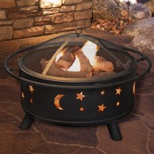 Star and Moon Steel Wood Fire Pit