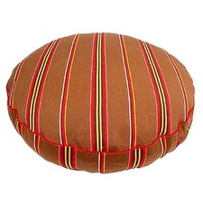 Brown Ticking Stripe Round Dog Pillow