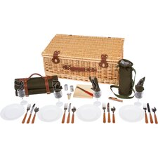 Deluxe Wicker Suitcase Style Picnic Basket with Insulated Compartment