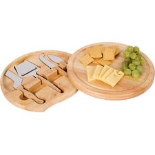 5 Piece Bamboo Cheese Board and Tool Set with Swivel Base