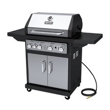 60,000 BTU 4-Burner Natural Gas Grill with Cast Iron Grates and Side Burner