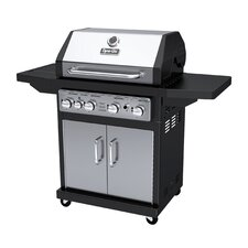 60,000 BTU 4-Burner Propane Gas Grill with Cast Iron Grates and Side Burner