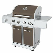 4 Burner 52,000 BTU Propane Gas Grill with Side Burner and Full Storage Cart