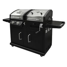 Gas Grill with Adjustable Charcoal Tray