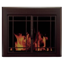 Enfield Prairie Cabinet Style Fireplace Screen and 9-Pane Smoked Glass Door
