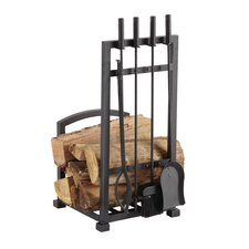 4 Piece Harper Fireplace Log Holder and Tool Set