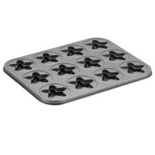 Novelty 12 Non- Stick Cup Star Molded Cookie Pan