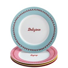 "4 Piece ""Icing and Quotes"" Serveware Porcelain Dessert Plate Set (Set of 4)"