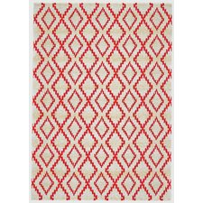 Gustavia Apricot White & Red Area Rug