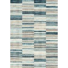 Villa Barcode Floor Cloth Beige/Blue Area Rug
