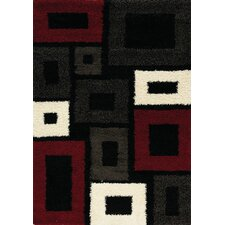 Rectangles Brown Shag Area Rug