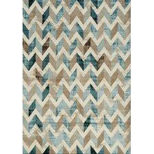 Villa Chevron Floor Cloth Beige/Blue Area Rug