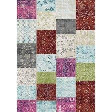 Villa Patchwork Floor Cloth White/Pink Area Rug