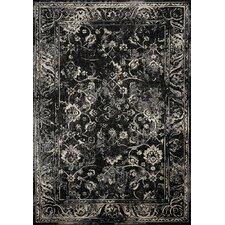 Antika Floral Floor Cloth Black/Cream Area Rug
