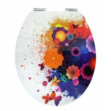 Glossy Art Fleur Elongated Toilet Seat