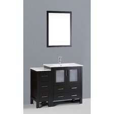 """Contemporary 42"""" Single Bathroom Vanity Set with Mirror"""