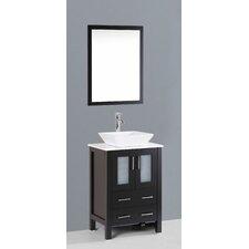 """Contemporary 24"""" Single Bathroom Vanity Set with Mirror"""
