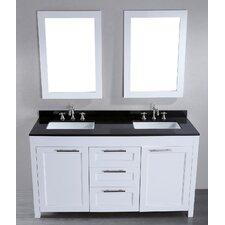 """Contemporary 60"""" Double Bathroom Vanity Set with Mirror"""