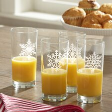 Snowflake Etched Highball Glasses (Set of 4)