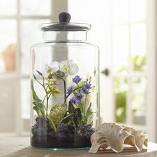 Orchid Faux Florals in Glass Jar with Lid