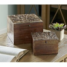 Evita Carved Keepsake Boxes (Set of 2)
