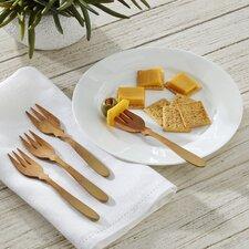 Teak 4-Piece Cocktail Fork Set
