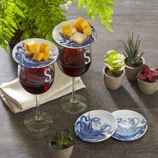 "Lucy 4"" Melamine Wine Glass TidBit Topper Plates (Set of 4)"