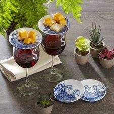 "Wellfleet Dinnerware 4"" Melamine Octopus Wine Glass Topper Plates (Set of 4)"