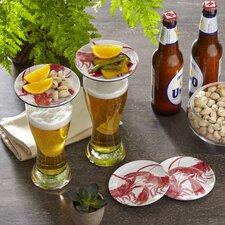 """Wellfleet Dinnerware 4"""" Melamine Lobster Glass Topper Plates (Set of 4)"""