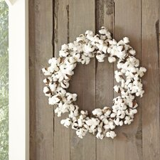 Faux Blooming Cotton Wreath