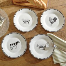 Farm Animals Ceramic Dessert Plates (Set of 4)