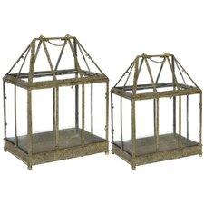 Metal Greenhouse Terrariums (Set of 2)