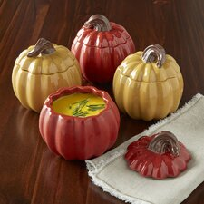 Autumn Pumpkin Lidded Soup Bowls (Set of 4)