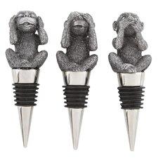 Hear No Speak No See No Monkeys 3 Piece Wine Stopper Set (Set of 3)