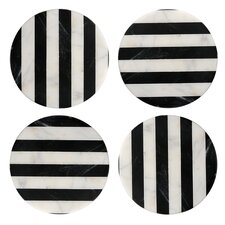 Old Hollywood Round Striped Marble Coaster (Set of 4)