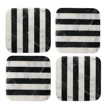 Old Hollywood Square Striped Marble Coaster (Set of 4)
