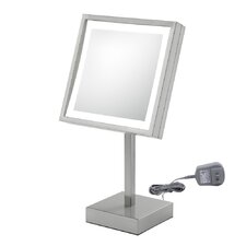 Single Sided Square Free Standing 3x Magnification LED Mirror