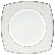 "Platinum Beaded Pearl 9"" Square Accent Plate"